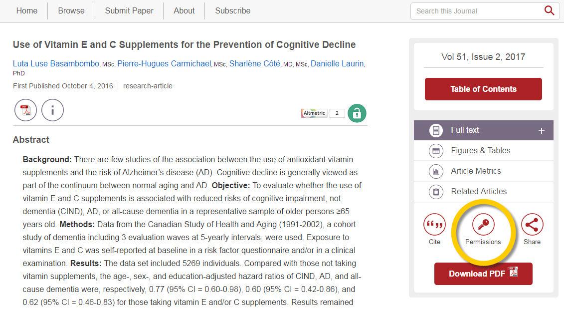 Screenshot of Permissions link