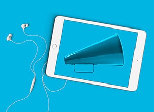Sales & Marketing Menu Option Image: Megaphone on tablet screen