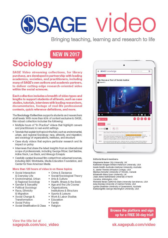 Image of SAGE Video Sociology flyer