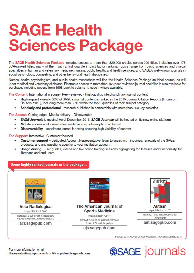 Image of the 2017 SAGE Health Sciences Package flyer