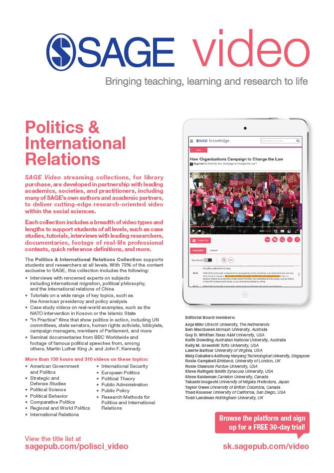 Image of SAGE Video Politics & International Relations flyer