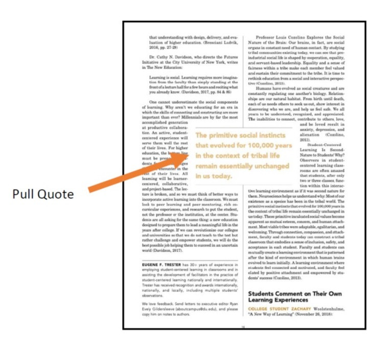About Campus Pull Quote Example