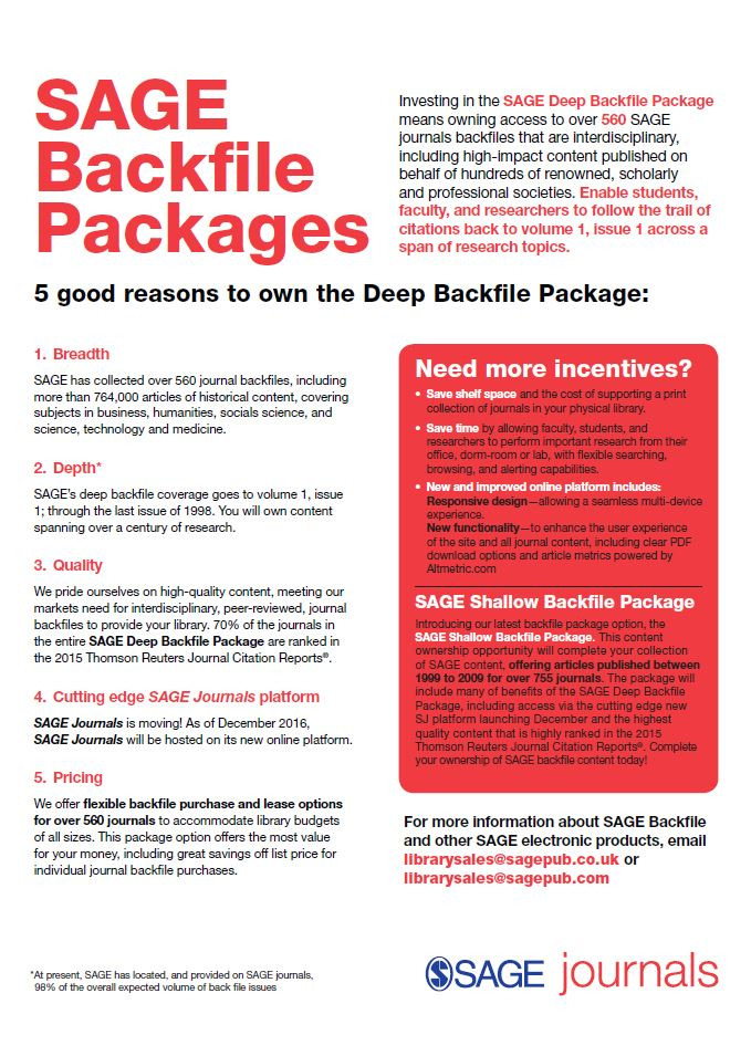 Image of the 2017 SAGE Deep Backfile Flyer