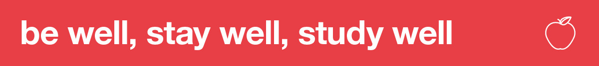 be well, stay well, study well banner with apple icon