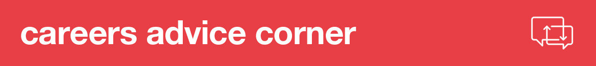 careers advice corner banner with speech bubble icon