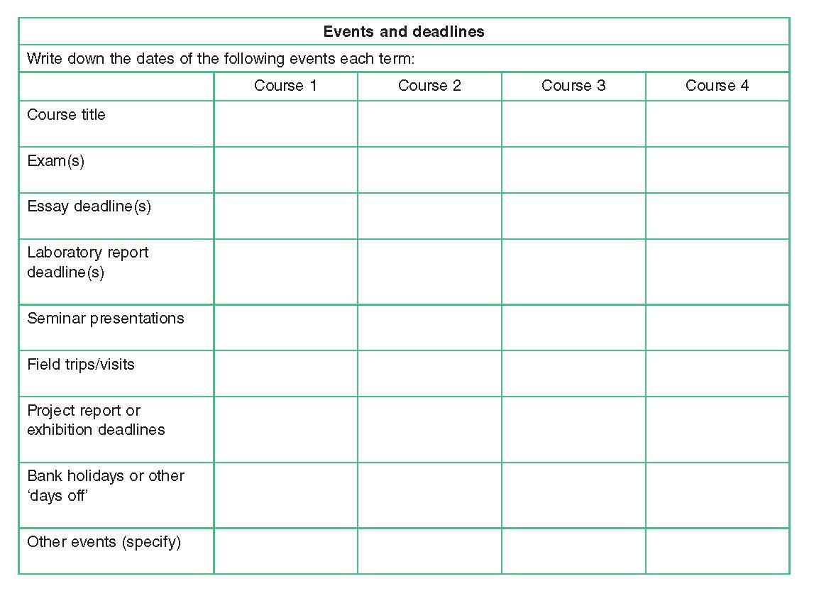 Events and deadlines table