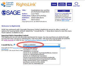 RightsLink questionnaire example