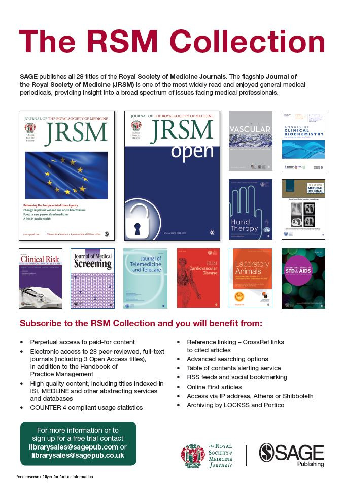 Image of the 2017 SAGE Royal Society of Medicine Collection flyer