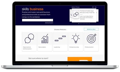 Laptop image displaying SAGE Skills: Business