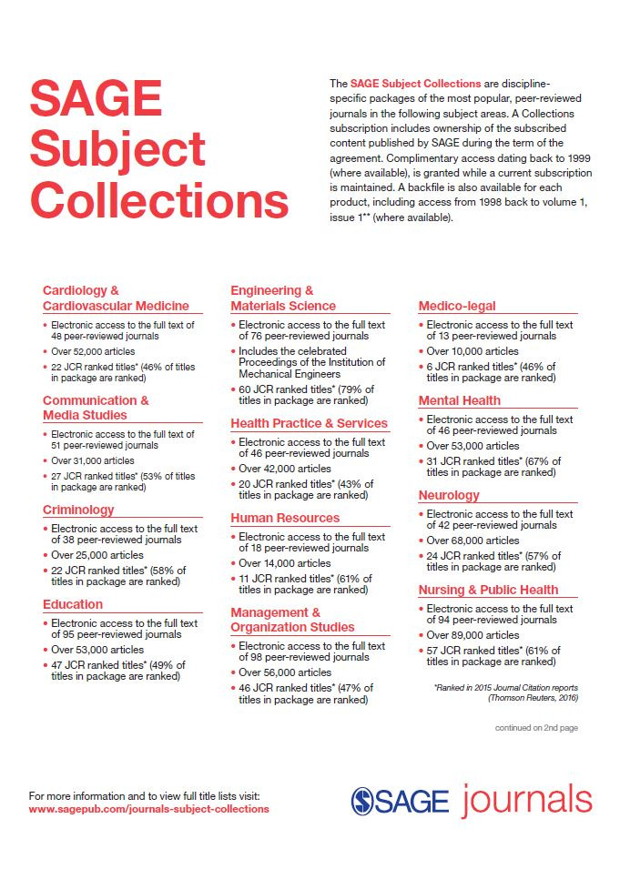 Image of the 2017 SAGE Subject Collection flyer
