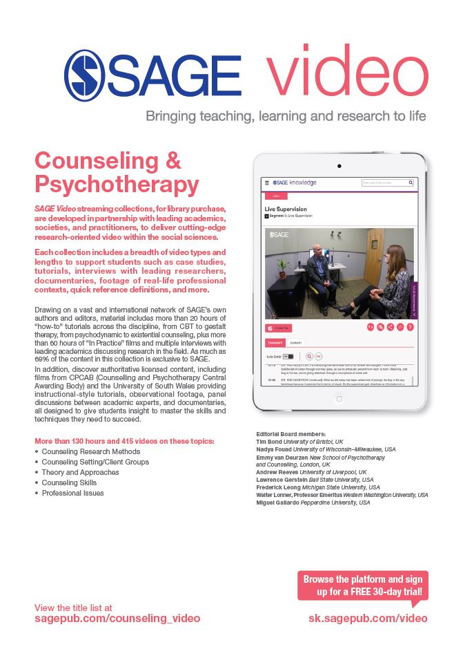 Image of the SAGE Video Counseling & Psychotherapy flyer