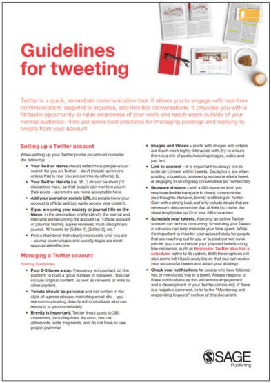 Image of Cover for Guidelines for Tweeting