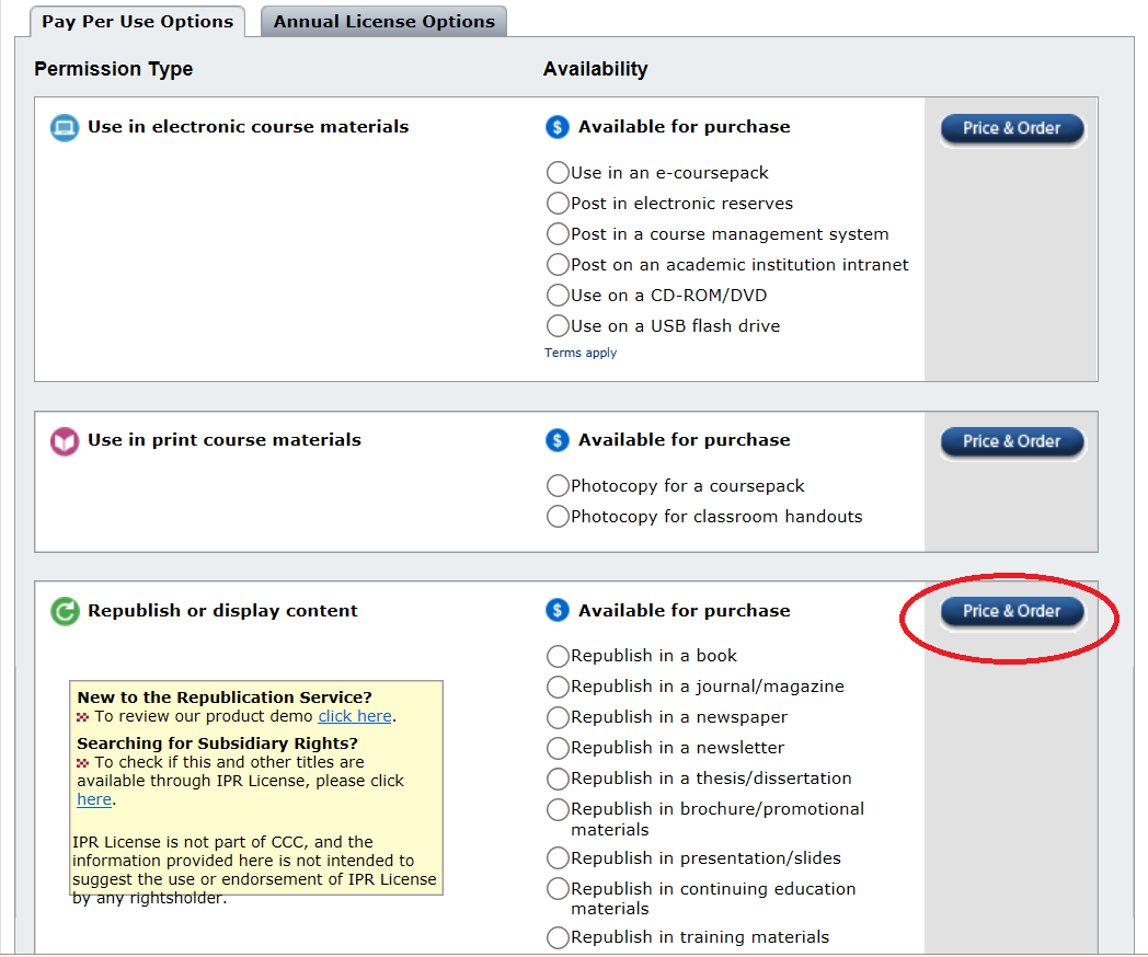 Screenshot of Copyright Clearance Center pay per use options by permission type