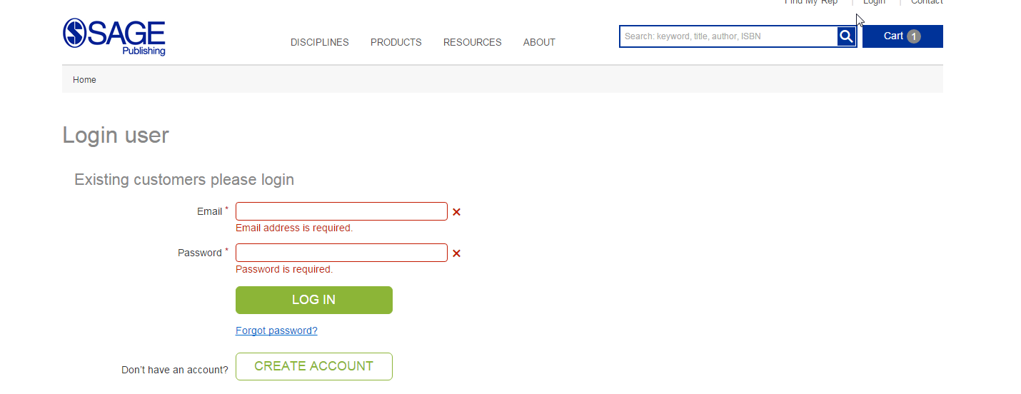 SAGE Existing Account